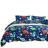 Luofanfei Kinder Bettwäsche 135 x 200 2 Teilig Dinosaurier Blau Niedlich Druck Cartoon Tiere Muster Bettbezug Dino Microfaser mit 1 Kopfkissenhülle 80 x 80 cm Hochqualität