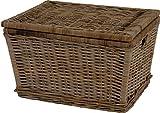 korb.outlet Deckelkorb Flechtkorb Aufbewahrungskorb Wäschebox Jute Wäschekorb Holz mit Deckel Rattan Grau Natur 60x48