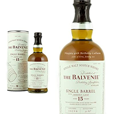 Personalised Balvenie 15 Year Old Single Barrel Single Malt Scottish Whisky 70cl Engraved Gift Bottle