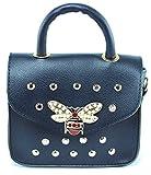 JQ JAKQUZEL Outfit Bag Stylische Kleine Damen Umhängetasche Schultertasche Handtasche in Blau mit Kette aus Gold und Schöne Elegante Accessoires aus PU Leder