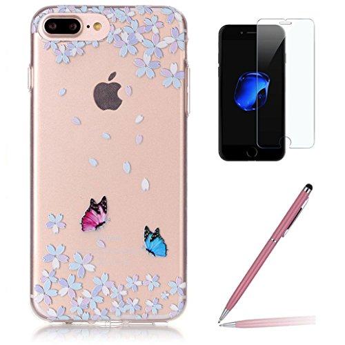 Custodia iPhone 7 Plus con Pellicola Protettiva in Vetro Temperato, Yoowei® Colorato Pattern Trasparente Ultra Sottile Morbido TPU Case Cover per iPhone 7 Plus 5.5