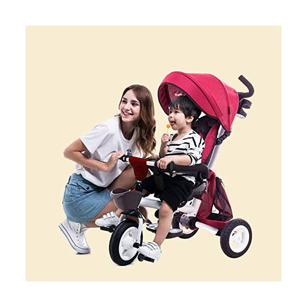 Childrens Folding Tricycle 12 Months To 6 Years 360° Swivelling Saddle Childrens Tricycles Seat Can Be Adjusted Back Folding Sun Canopy Handle Bar Kids Tricycle Maximum Weight 25 Kg,Purple BGHKFF ★Material: Carbon steel + environmental protection paint, suitable for children from 1 to 6 years old, the maximum weight is 25 kg ★ 4 in 1 multi-function: can be converted into a stroller and a tricycle. The seat can be rotated 360°, parent-child interaction, and can also move back and forth ★Safe design: three-point seat belt, front wheel clutch, safer on the way, rear wheel brake, lock rear wheel 8