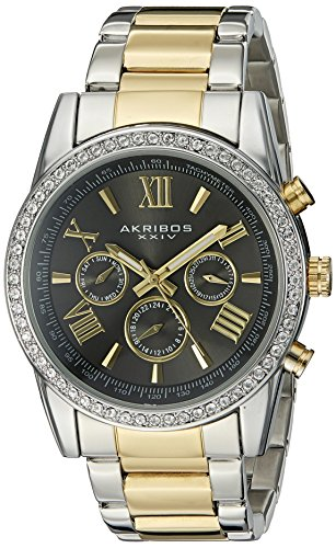 Akribos XXIV Men's AK868TTG Round Dark Gray Dial Three Hand Quartz Two Tone Bracelet Watch