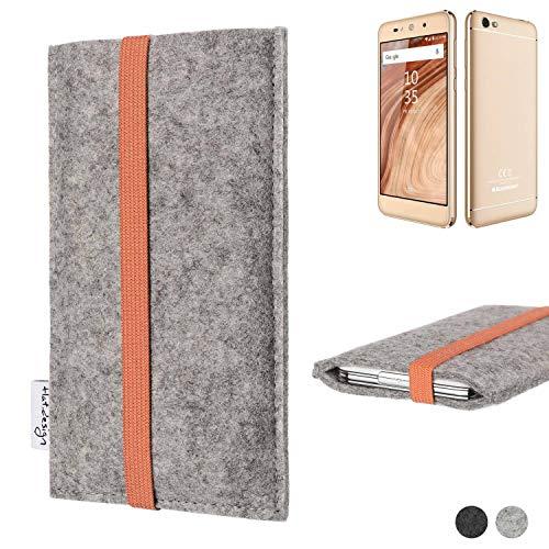 flat.design Handy Hülle Coimbra für Blaupunkt SL02 - Schutz Case Tasche Filz Made in Germany hellgrau orange