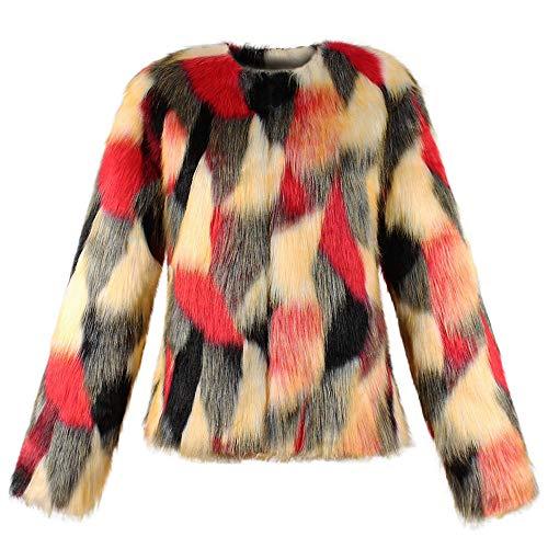 Xmiral Damen Mantel Warm Mantel Jacke Winter Farbverlauf Kurze Oberbekleidung (L,Rot)