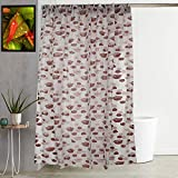 """Kuber Industries Floral Design PVC Shower Curtain with Hooks - 54""""x84"""", Brown"""