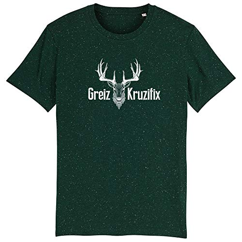 Trachten T-Shirt Greiz Kruzifix Bio Baumwolle S-3XL Trachtenshirt Oktoberfest Bayrisch Wiesn Lederhosen Männer Herren Hirsch Österreich (Heather-Scarab-Green, L)