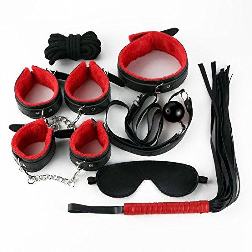 Lot de 7 accessoires pour s'attacher au lit Webersky, Noir et rouge
