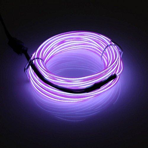 Possbay 1m 2m 3m 4m 5m el Draht Neon Lights Glow Leuchtmittel Elektrolumineszenz-Folie mit Controller für Car Home Party Kostüm Dekoration, violett, 2 - El Draht Kostüm