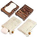 PAMIYO 2 Stück Seifenschale Holz Dusche,2 Stück Seifensäckchen,Natürliche Bambus Seifenkiste,Bio...