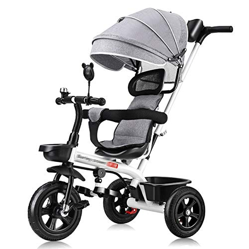 RUMIAO Bambini Triciclo\Passeggino, con Maniglione Direzionabile E Cappottina Parasole per Bimbo da 8 Mesi A 5 Anni, Bianco