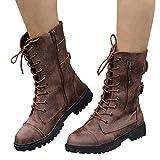 TianWlio Boots Stiefel Schuhe Stiefeletten Frauen Herbst Winter Schuhe Roman Riding Cowboy Halbstiefel Reißverschluss Mitte der Wade Stiefel Weihnachten Braun 41