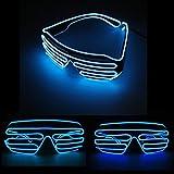 JZK® Blau LED Leuchtbrille Partybrille leuchtend Brille mit automatischer Sprachsteuerung blinkt, Zubehör zum Kostüme Rave Konzerte Live Party Club Disco Weihnachten Halloween Hochzeit Geburtstag (LED Brille, blau)