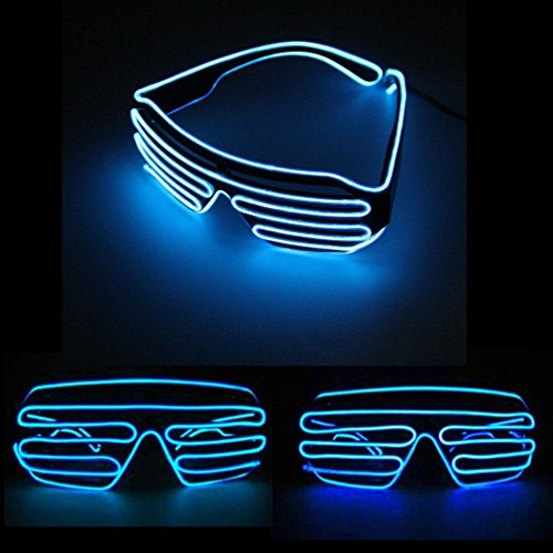 Für Rave Kostüme Halloween (JZK® Blau LED Leuchtbrille Partybrille leuchtend Brille mit automatischer Sprachsteuerung blinkt, Zubehör zum Kostüme Rave Konzerte Live Party Club Disco Weihnachten Halloween Hochzeit Geburtstag (LED Brille,)
