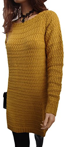 HS - Robe Pull Femme Grande Taille Longue Automne Hiver Neuf Marron Doré