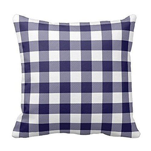 Home Sofa Navy Blue Preppy Buffalo Check Plaid Pillow Cover Cotton Standard Size 18 by 18 with Invisible Zipper (Preppy Plaid)