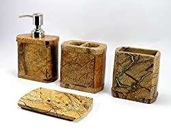 4 Pieces Bathroom Set Genuine Natural Multicolor Stone Bathroom Accessories - Toothbrush Docking Container, Soap Dispenser, Toothpaste or Cotton Docking Set and Soap Dish Plate