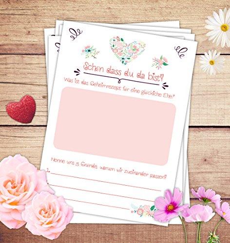 """Hochzeitspiel: 52 Postkarten mit spannenden Fragen für Gäste und das Brautpaar // Das 52 Wochen Spiel für Hochzeiten """"Schön dass du da bist!"""" von Sophies Kartenwelt - 4"""