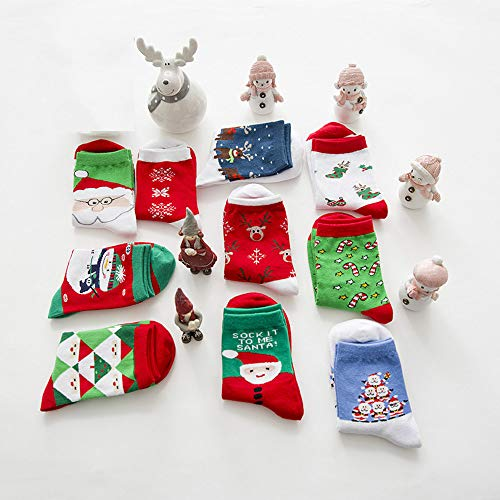 Socken Ruitx Women Christmas Fun Fuzzy Colorful Stockings Cotton Crew Holiday Slipper 10 Pairs