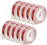10er Pack S0898150 weiß auf glänzend rot 9mm x 3m Prägeetiketten (selbstklebend, kunststoff) kompatibel für Dymo Omega und Junior Etikettenprägegerät