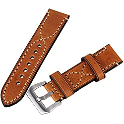 WEONE Brown 24mm Width Vintage Genuine Leather Military Watches Strap Band Polished Buckle Luxury Retro PU Leather Wristwatch Bands