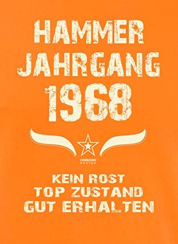 Geschenk 49. Geburtstag :-: T-Shirt :-: Geburtstagsgeschenk Männer :-: Hammer Jahrgang 1968 :-: Farbe: orange Orange
