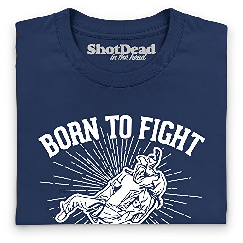 Born To Fight - Judo Langarmshirt Funny Novelty Gift, Herren Dunkelblau