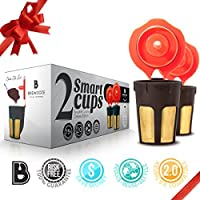 Brewooze Keurig Carafe Kcup Filter - 2 X Reusable Gold K Cup - Refillable 4-5 Cup Coffee Filter for Keurig 2.0 | K500, K400, K300 and K200 Models