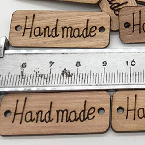 Farbe Holz grün mit Zwei Löchern aus Holz handgefertigt Etiketten 1 Paket (100) ALS gezeigte Addobbi und Dekoration für Erinnerungen Fasching Karneval -
