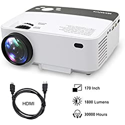 Proyectores, Mini Proyector Portátil HD Proyector LED 1800 Lumens R1 Projector LCD Home Cinema con Cable HDMI