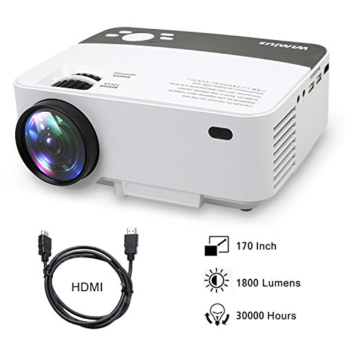 Mini Beamer, HD Beamer Portable LED 1800 Lumens Video Projektor Heimkino Unterstützung 1080P WiMiUS R1 Projector Mit Kostenlose HDMI-Kabel inklusive Schnittstellen HDMI USB VGA AV SD
