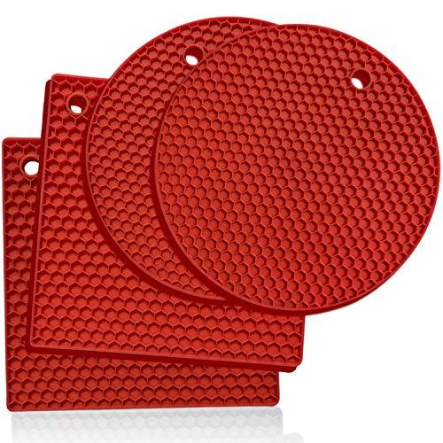 Premium Silikon-Untersetzer: 4 Mehrzweck-Topf-Halter, Ofenhandschuhe, Hot Pads, vielseitig einsetzbar, hitzebeständig, rutschfester Glasöffner, Greifunterlage, Knoblauchschäler, Trocknungsmatte - Rot