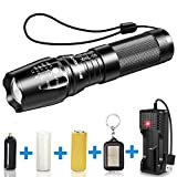 BYBLIGHT LED Torch, Super Bright Rechargeable Torch 800 Lumens, Adjustable Focus CREE Tactical Flashlight, 5 Modes, 26650 Battery, Waterproof Powerful Torch for Camping, Dog Walking, Outdoor Activitie