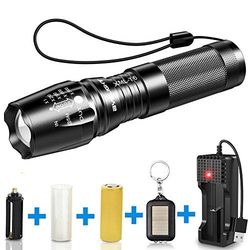 Byblight LED-Taschenlampe, 800 Lumen, wiederaufladbar, Taschenlampe mit verstellbarem LED-Fokus und 26650erAkku, 5Modi, wasserdicht für Innen- und Außeneinsatz, schwarz (Led Gun Safe)