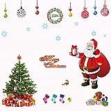FABSELLER Fenster-Wandaufkleber mit Schneeflocke, Weihnachtsmann, Weihnachtsmann, Fenster-Aufkleber, Wandsticker, Wandaufkleber, für Zuhause, Geschäft, Büro (Weihnachtsbaum)