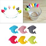 Pinkdose® 6 Pcs Shark Party Dedicated Tag Suction Cup Wine Glass Silicone Label Rubber Wine Glasses Recognizer Marker