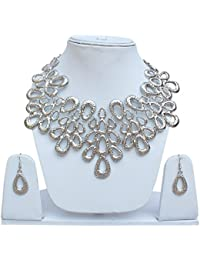 Lucky Jewellery Designer Silver Plated Funky Necklace Set For Girls & Women