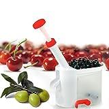 takestop® Kirschentkerner Sauerkirschen Oliven mit Tablett mit Saugnapf Kirschentkerner Entkerner LEVANOCCIOLI für Marmelade Salate