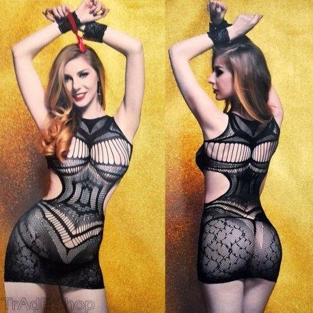Tradeshoptraesio®–Mini vestido sexy.Conjunto de lencería de mujer, negro, talla única JT6116B