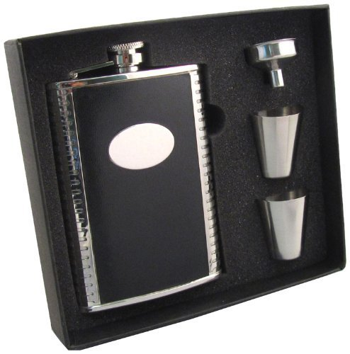 visol-tux-leather-stainless-steel-hip-flask-gift-set-8-ounce-black-by-visol