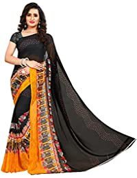 Anand Sarees Faux Georgette Printed Yellow Color With Blouse Piece (1408)
