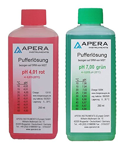 Apera Instruments pH Kalibrierlösung Set 4.01/7.00 je 250ml, Pufferlösung Set -