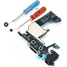 Connettore Dock di ricambio con caricamento tramite porta USB Cavo flessibile Flex Microfono Audiojack Antenna e tasto home già installati per iPhone 5 Nero