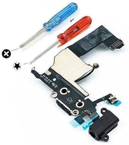 MMOBIEL Dock Connector für iPhone 5 (Schwarz) USB Ladebuchse Flex Mikrofon Homebutton Lautsprecher und Audio Jack Kopfhörer Anschluss vormontiert mit selbstklebender Unterseite inkl 2x Schraubenzieher