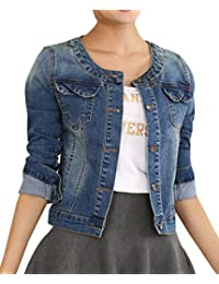 Yasong Women Girls Slim Fitted Button up Long Sleeve Crew Neck Vintage Denim Light Wash Faded Cropped Jean Jacket