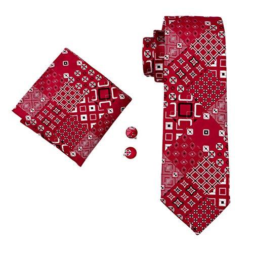 FDHFC Designer Krawatten Für Männer Rote Geometrische Mode Krawatten Manschettenknöpfe Set Für Hochzeitsfest -