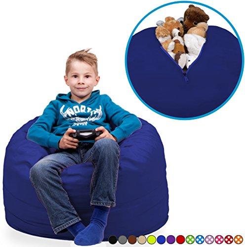 Kuscheltier Aufbewahrungs Sitzsack Bezug in Saphir Blau - Waschmaschinensicher - Zimmer aufräumen mit Style! Verstaut Spielzeuge & Kuscheltiere vom Kinderzimmer - Kinder Möbel