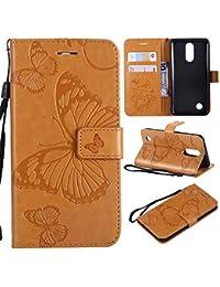 Conber Leder Handyhülle mit [Kostenlose Schutzfolie], Leder Schutztasche Klappetui Ledertasche Handyhülle, Emboss 3D Schmetterling Muster Leder Handy Schutzhülle