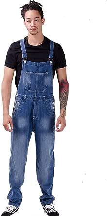 Wash Clothing Company Mens Loose Fit Bib Overalls Blue Denim Dungarees Streetwear