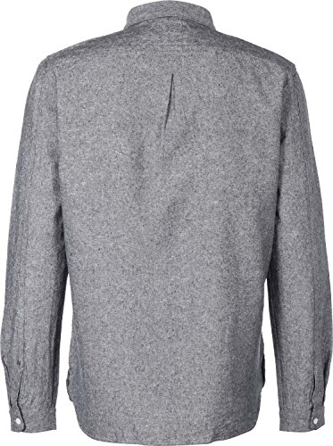 Nowadays Linen Langarmhemd Grau Meliert
